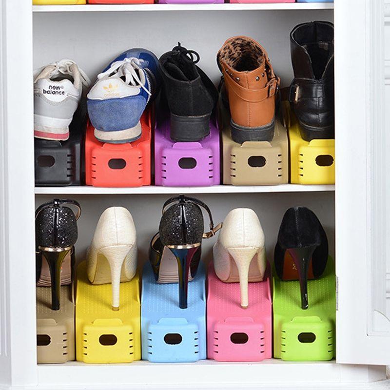 6Pcs/2Pcs Double Shoe Rack Not Adjustable Slipper Organizer Range Shoes Holder Storage Stand Space Saver Plastic Shelf Clothing Wardrobe S