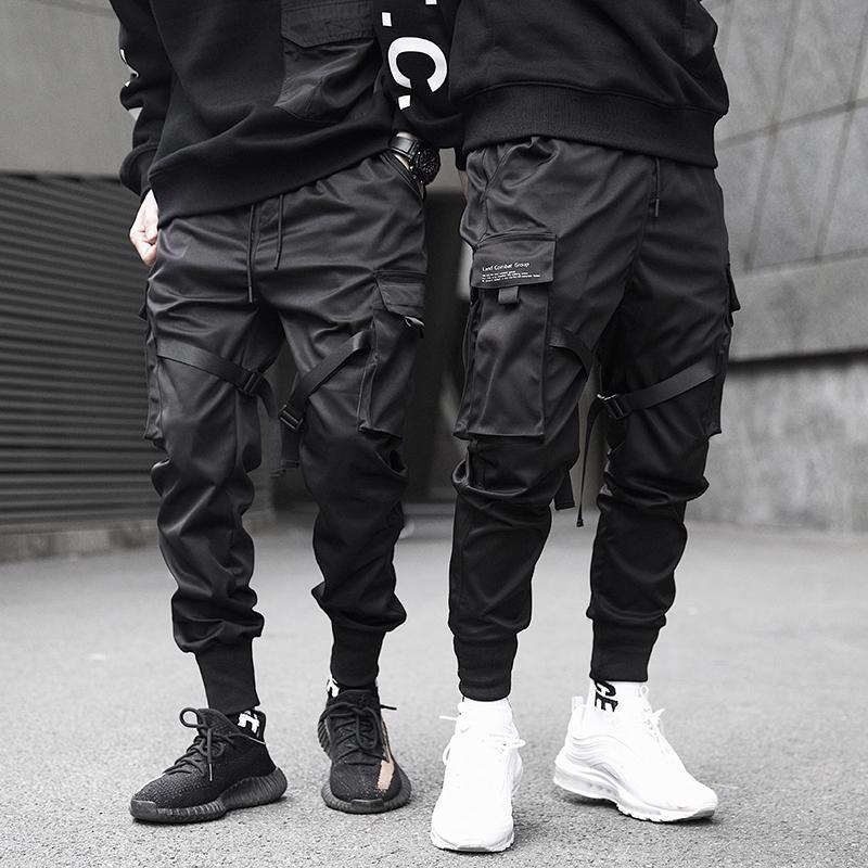 Men Ribbons Color Block Black Pocket Cargo Pants Harem Joggers Harajuku Sweatpant Hip Hop Trousers Male Size S-3XL