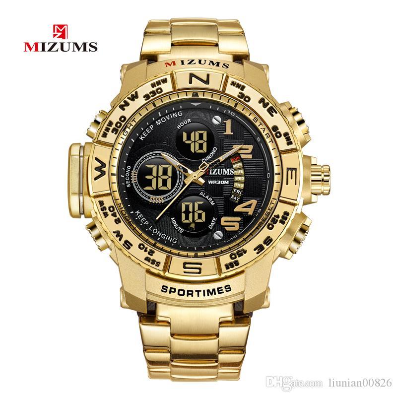 Mizums Brand Quartz Watch Men's Sport Watches Men stainless Steel Band Military Clock Waterproof Gold LED Digital Watch Relogio Masculino
