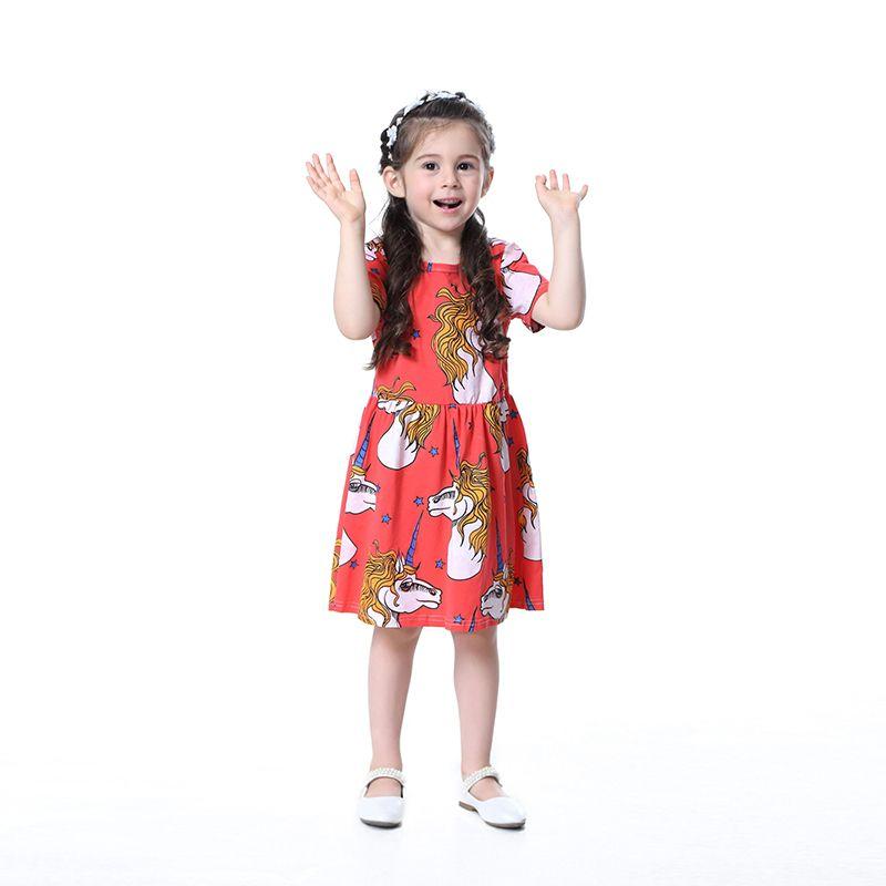 2019 Yeni Ins Stil Kız Elbise Çocuklar Için Küresel Moda Spor Unicorn Kız Elbise