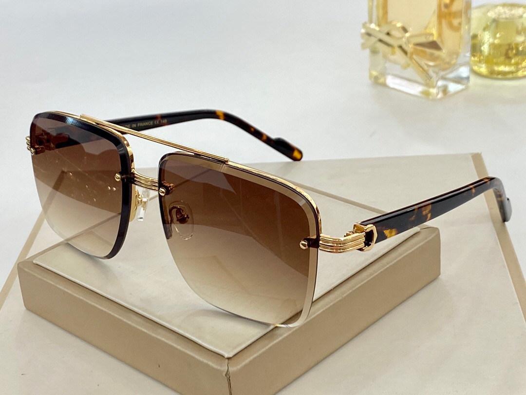 8200982 lunettes de soleil classiques en métal doré avecA Cetate Cadre populaire lunettes de soleil carré Protection UV Top qualité Mode d'été unisexe style
