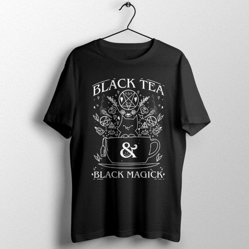 Gráfico T Shirts Mujeres Negro Té Negro Magia gato de la bruja culto al diablo camiseta Streetwear Grunge Negro Tumblr Top para niña gótica Y200109