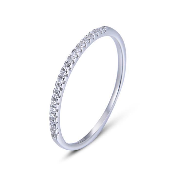 2019 Hot Korean fashion s925 sterling silver diamond ring single row diamond ring female simple wild tail ring