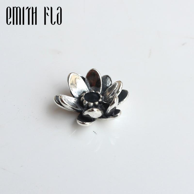 Emith Fla 100% Real 925 Sterling Silver Giant Lotus Charm Beads Fit Original European Brand Charm Troll Bracelet Authentic Diy J190618