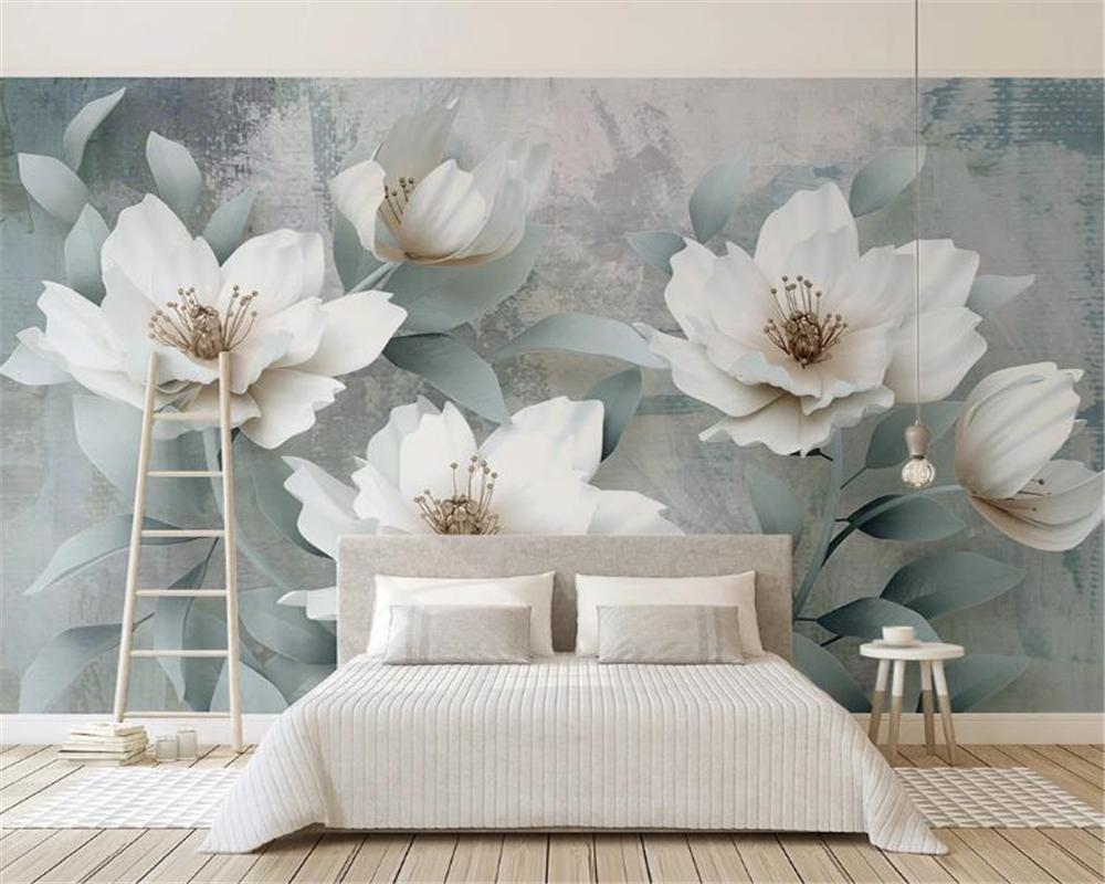 Floral Wallpaper For Walls Retro Simple Embossed Flower Customize