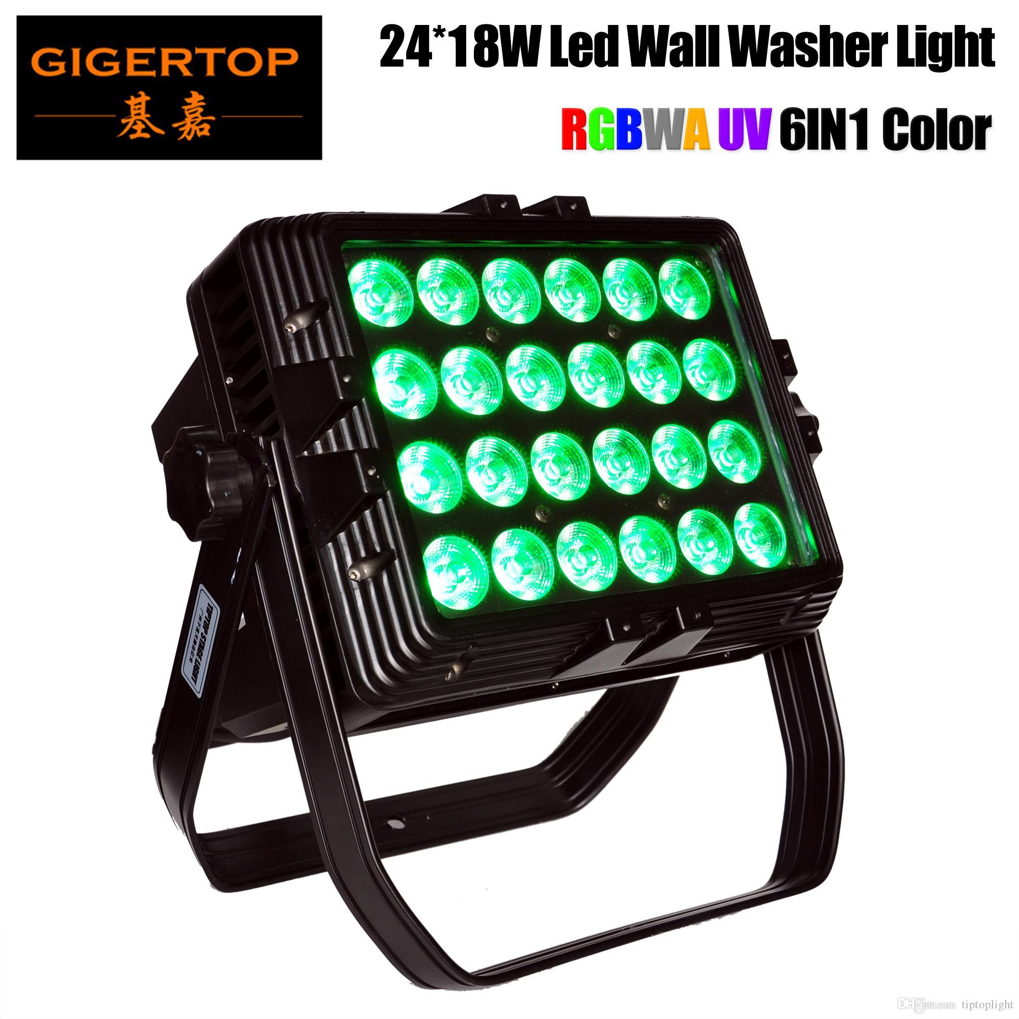 Gigertop 24 x 18W RGBWA UV 6IN1 Fyrkantig form LED Väggbricka Ljus Tyanshine LED 24PCS Högkraft Vattentät IP65 Park Flood Light