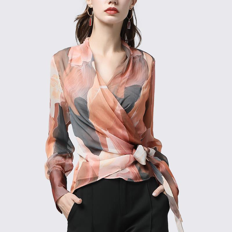 Женская мода шифоновые рубашки повседневные легкий прозрачный принт блузки элегантный свободный лук V-образным вырезом с длинным рукавом женские топы DF3242