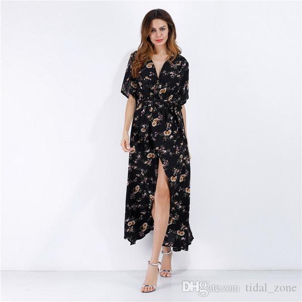 2019 Nuevos Vestidos de Mujer Falda Estampada de Gasa Estampada de Gasa Estampada de Gasa Multicolor Europea y Americana Falda para las Vacaciones de Verano