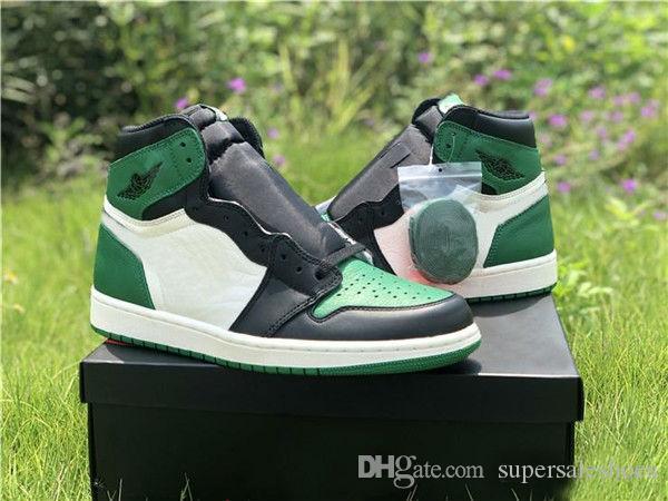 Con la scatola 1 I alta OG VERDE pino bianco viola corte di pallacanestro degli uomini scarpe firmate 1s sneakers sport formatori esterni SIZE 7-12