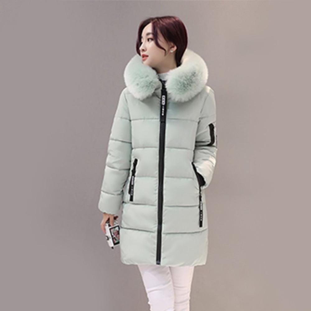 Winter-Frauen Parka Cotton lang Schlank passen Light Green-Pelz-Kragen mit Kapuze Mäntel Female warmen starken Outer Baumwolle gefütterte Jacken