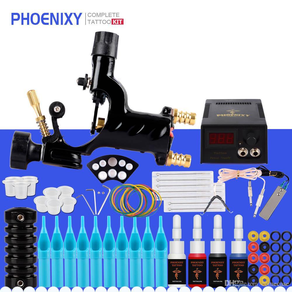 문신 기계 키트 1 회전 기계 총 공급 전력 완료 문신 세트에 대한 4 색 잉크 안료 바늘 문신 액세서리