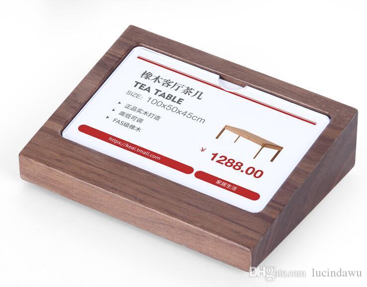 데스크 이름 카드 디스플레이 랙 테이블 로그인 가격 태그 디스플레이 스탠드 선반 토커 아크릴 커버 간판 플레이트 슬로프 나무 블록 프레임