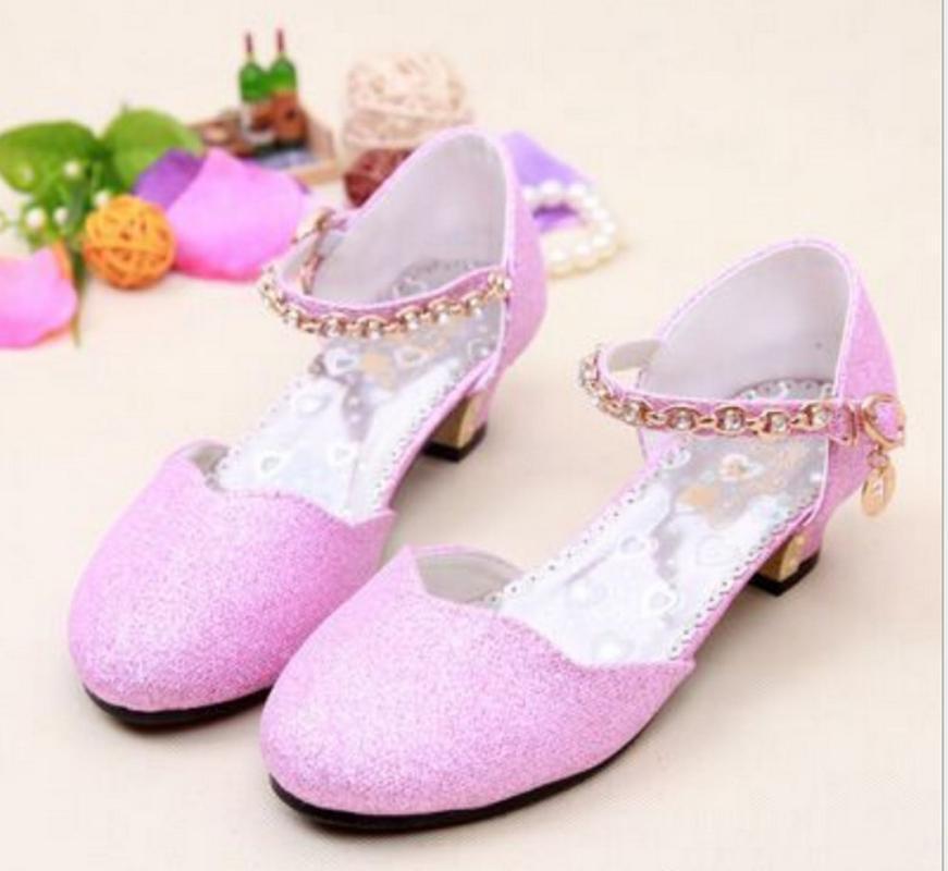 2020 Prenses Çocuk Ayakkabı Casual Glitter Deri Düğün Kız Sandalet Pullu Sandal Parti Elbise Yüksek Topuklar Çocuk Ayakkabı