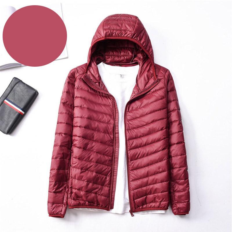 Kapşonlu Parka Büyük boy Down With Coat Kış Sıcak Aşağı Ceket Erkekler Açık Palto Hafif Jacket Ördek Burgonya Erkek