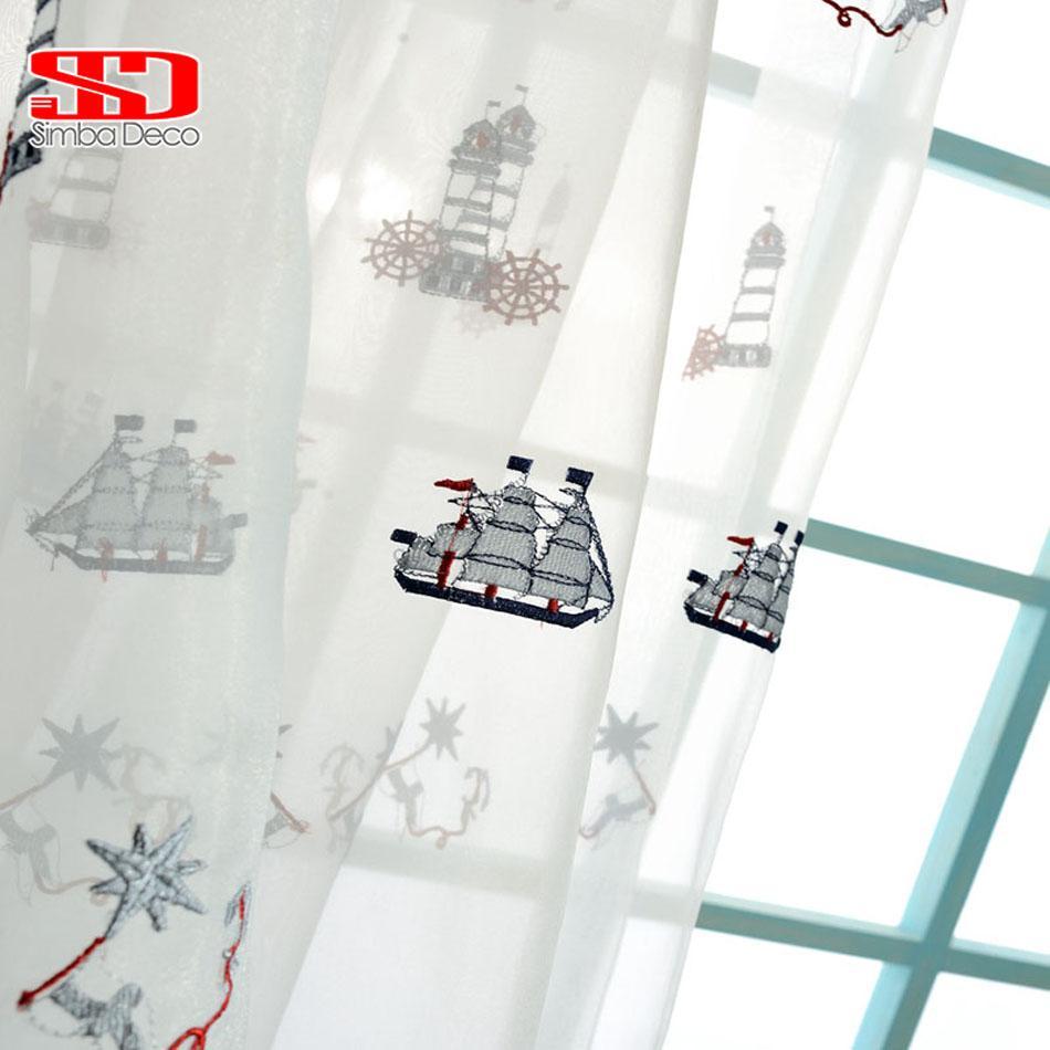 Cartoon Gestickte Segelboot Baumwolle Leinen Vorhänge Für Kinder Schlafzimmer Kinder Blackout Vorhänge Stoff Voile Fenster Panel Benutzerdefinierte