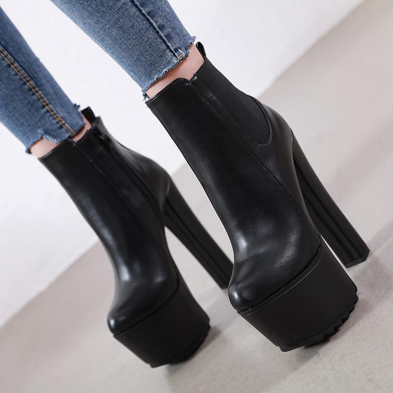 Sıcak Satış-2020 Kadın Çizmeler 16 cm 7 cm Yüksek Topuklu Kısa Çizmeler Sıcak Peluş Kış Kar Ayakkabı