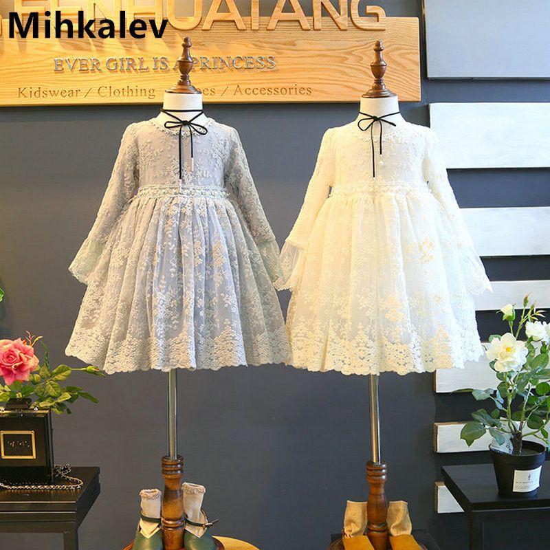 Mihkalev manga longa vestidos de meninas 2019 primavera crianças meninas princesa dress para o aniversário do bebê lace tutu vestidos crianças roupas y19061501