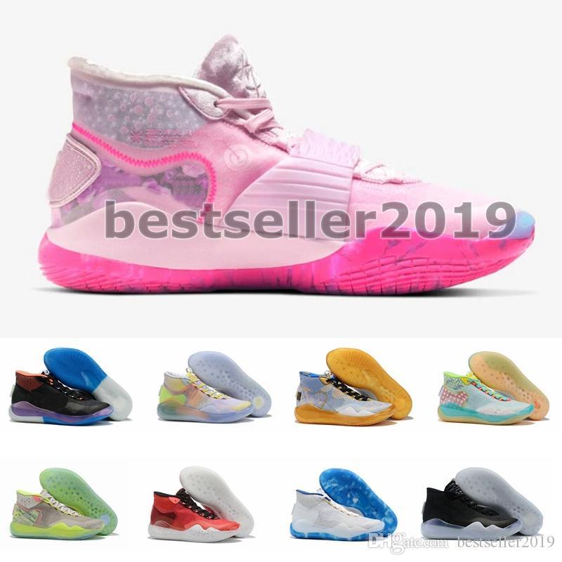 2020 Pembe KD12 Teyzem Erkek Basketbol Ayakkabı Yakınlaştırma Kevin Durant 12s EP neler Seçimi AP XII Eğitmenler Atletik Spor Sneakers kutusuyla