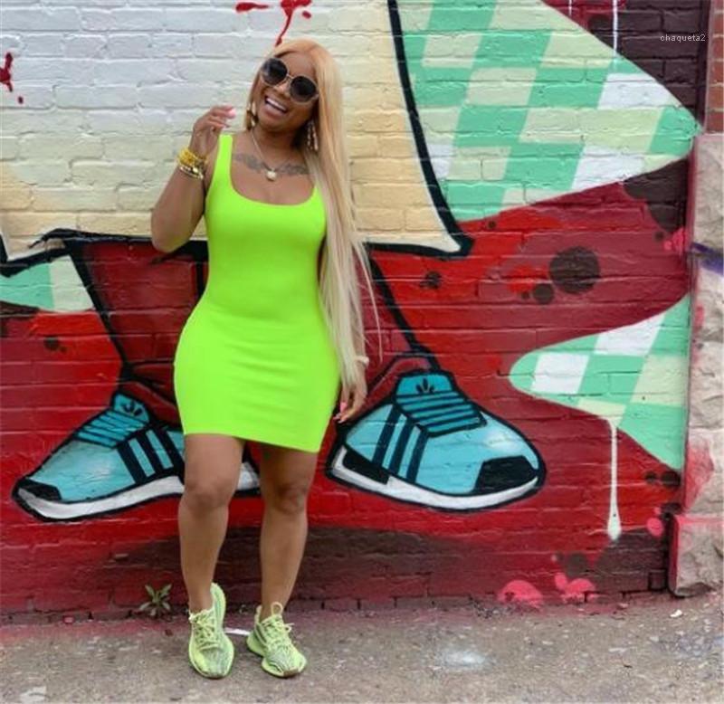 Baz Giyim Kayış Sashes Kolsuz Giyim Bayan Yaz Katı Renk Kemer Elbise Casual Scoop Boyun Elbise Seksi Sling