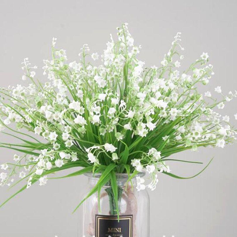 인공 백색 릴리 오브 밸리 플라스틱 벨 모양의 흰색 꽃 식물 결혼식 중심을위한 푸른 꽃 Part Floral
