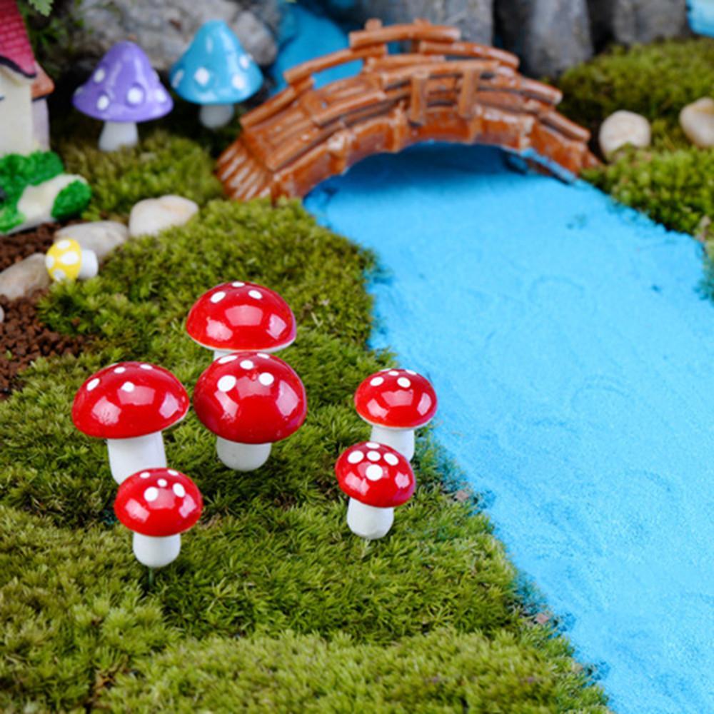 Искусственные красочные мини-грибной смолы ремесел Terrarium Figurines Fairy сад миниатюры партии сад украшения орнамента