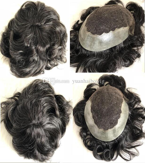 Q6 Men Toupee Lace Front Thin Skin Back and Side 1B Mix 30% Gray Virgin Burmese Hair Toupee for Old Men Free Shipping