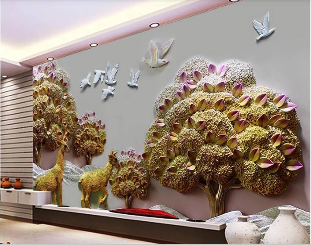 alívio da paisagem da floresta papéis de parede parede do fundo 3D fundo de alívio decorativos de parede pintura wallpapers 3d
