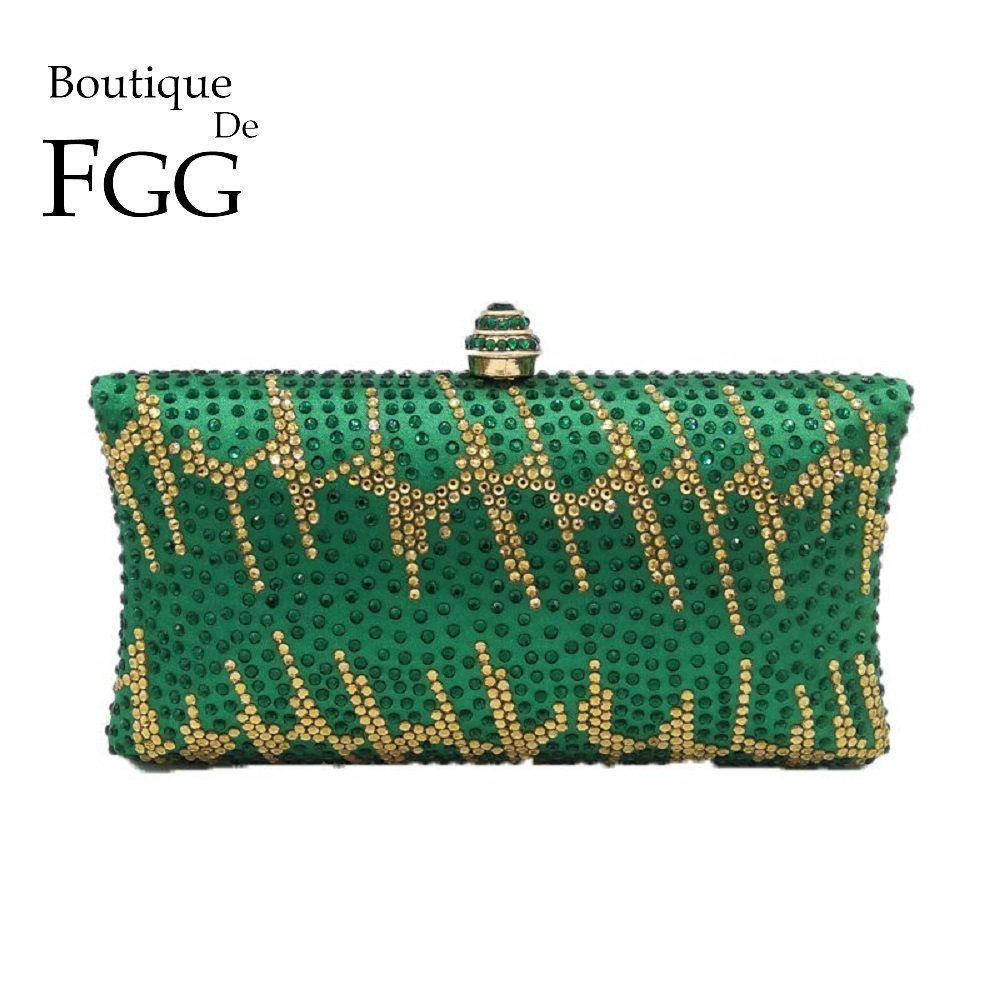 Boutique De Fgg Green Emerald Crystal Evening Clutch Bags Wedding Bag Women Diamond Cocktail Party Chain Shoulder Handbags Y19061903