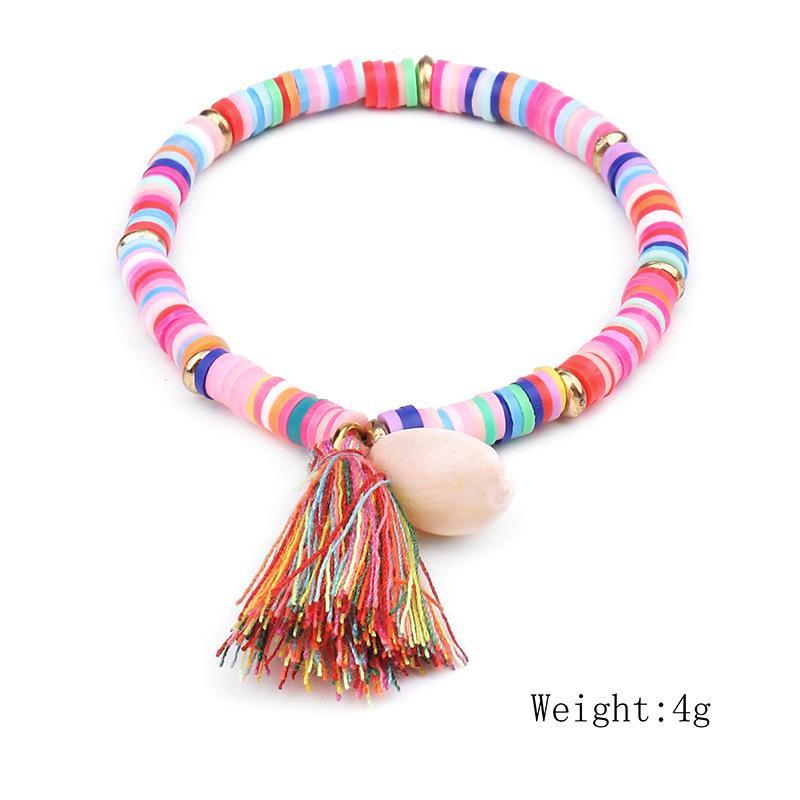 DIEZI multicolor de Bohemia pulsera Shell borla de 7 colores Ehthic playa de Boho cuerda Declaración de algodón tejida pulsera de cadena para la Mujer