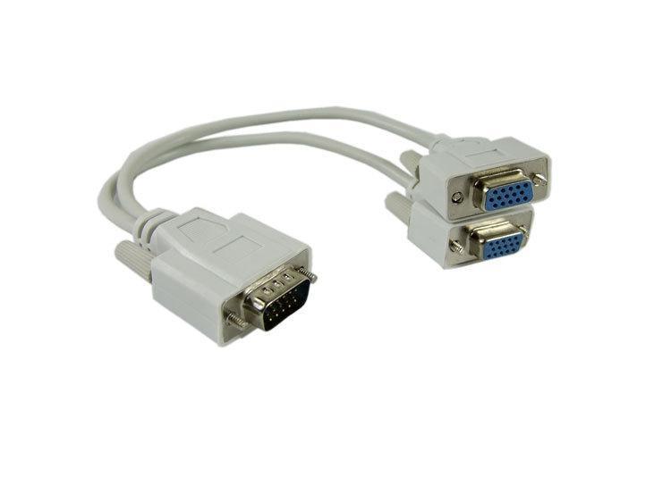 100pcs VGA SVGA RGB maschio a 2 VGA HD 15 Female Splitter estensione del cavo, trasporto libero da Fedex