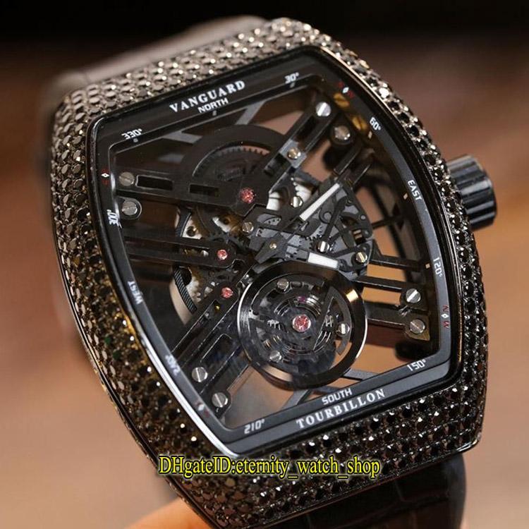 Best-Nova versão Saratoge Vanguard V 45 T SQT NR Skeleton Dial Diamonds Miyota Mens Automatic Black Watch caso couro banda Iced Out Relógios