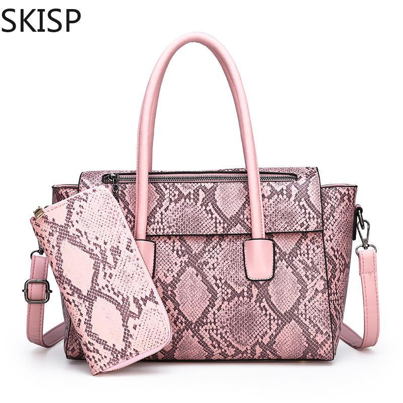 2PC mujeres empaquetan los bolsos de cuero de la PU señora de la serpiente de impresión bolsos de mano con la bolsa de mensajero carteras mujer totalizador grande Sac Bols rosa