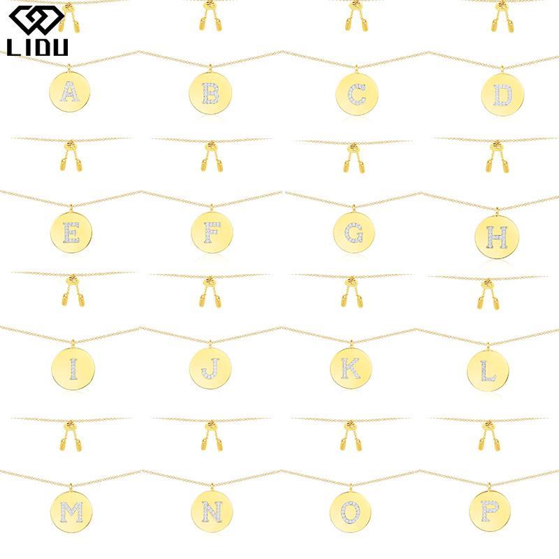 LIDU 925 prata de alta qualidade moda requintada 26 Letter colar de ouro chapeado presente para amigos e-mail gratuito Atacado Fabricante