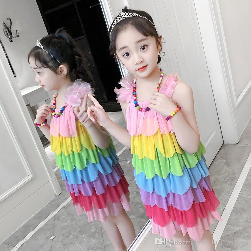 소매 아이들 드레스 디자이너 여자 무지개 꽃잎 바느질 해변 드레스 목걸이 프릴 꽃 소녀 드레스 어린이 공주 드레스