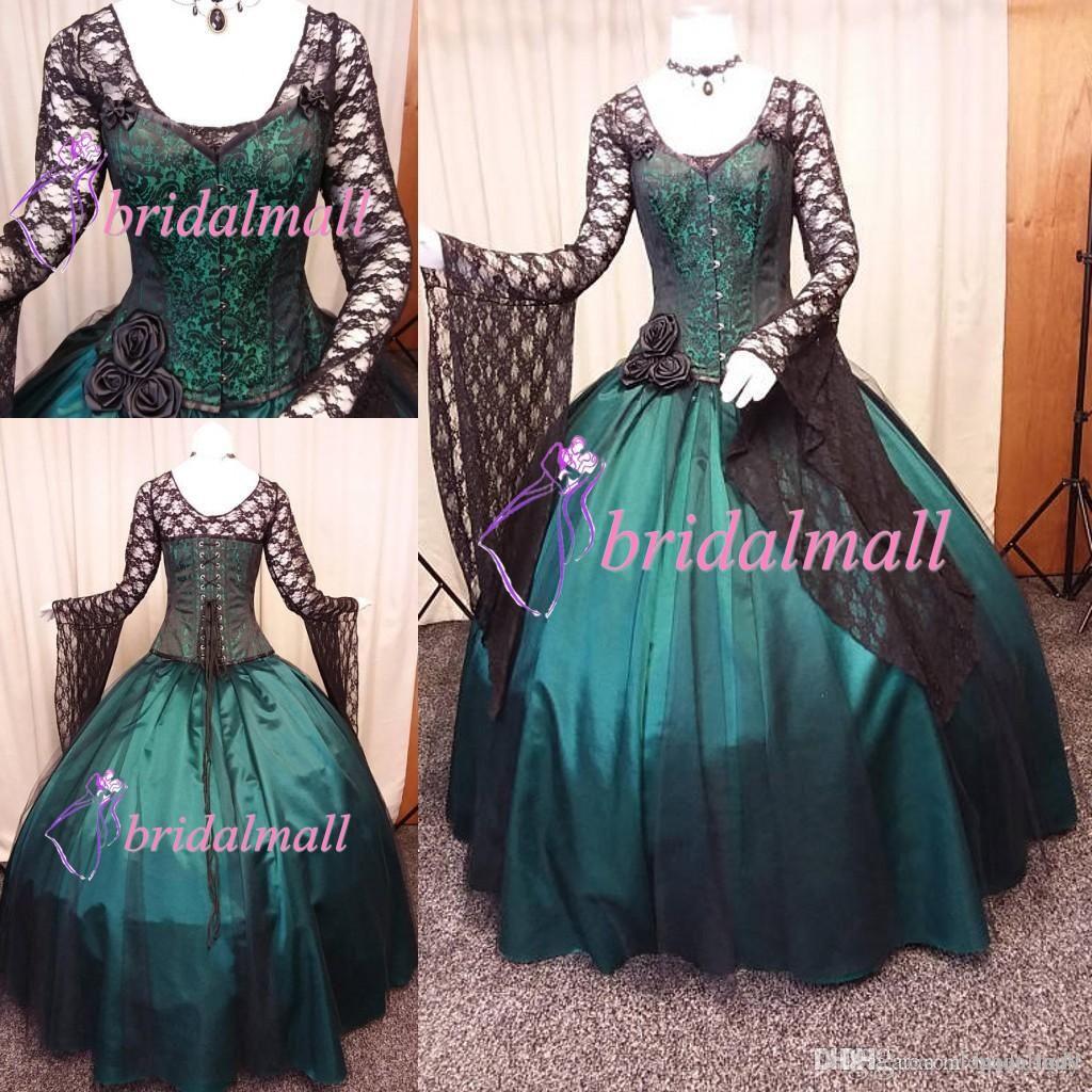 빈티지 2020 블랙과 그린 고딕 웨딩 드레스 긴 소매 Steampunk 빅토리아 Whitby 레이스 업 백 플러스 사이즈 Celti 결혼식 신부 가운