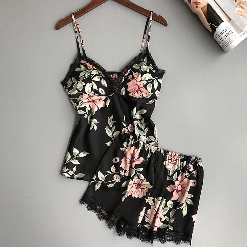 Flor de la moda de Nueva Sleep Salón Conjunto de pijama de seda satén atractivo ropa de noche de las mujeres de verano pijama de la muñeca Femme Pijamas de mujeres