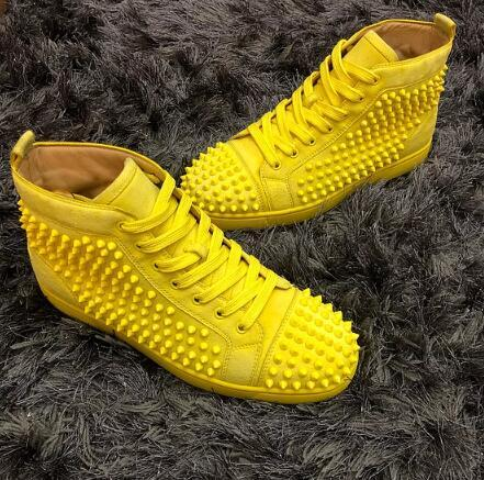 Top Designer Yellow Leather Sneakers Red Bottom shoe High Cut Suede spike Luxury Shoes For Men and Women Shoes Party Wedding Sneakers