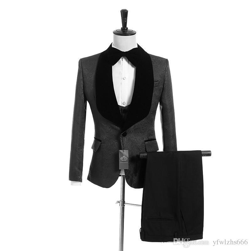 Темно-серый жаккардовый свадебные смокинги Slim Fit Костюмы для мужчин Шафера костюм Три пьесы Дешевые Пром Формальные костюмы (куртка + брюки + жилет + Tie) 028