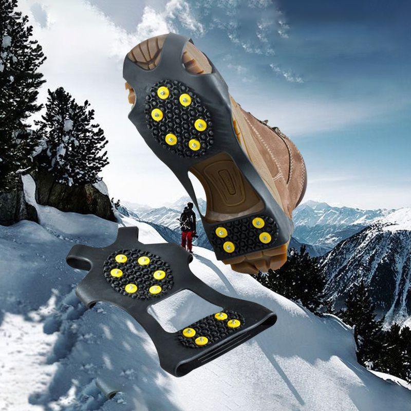 1 par de escalada 10 Studs Anti-Skid Snow Mountain Ice Shoe Spikes revestimento antiderrapante Grampos Grampos Overshoes crampons pico sapatos crampon