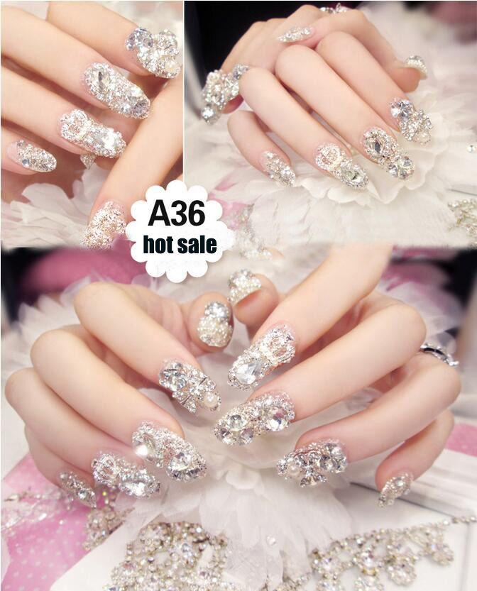HugMee Nail Ornament 24pcs 3D False Nails Bling Glitter Fake Full Nail Tip Imperial Crown Rhinestone Decor Bowknot Nail Art M0047