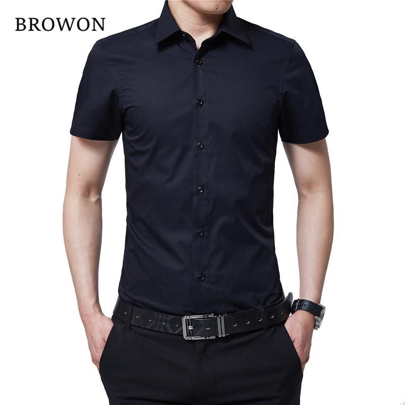 BROWON estrenar Camisa formal de los hombres Camiseta de manga corta de color giro hacia abajo ajuste delgado ocasional de la camisa más el tamaño M-5XL Camisa Masculina CJ200410