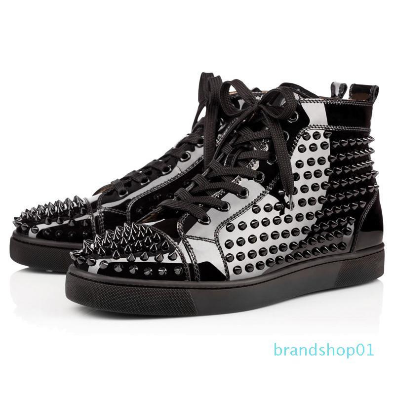 fondo piatto pattini del progettista delle donne degli uomini Chaussures pelle borchiata Spike Sneakers Triple Nero Bianco Rosso Suede pattino casuale 36-47 epoca 021