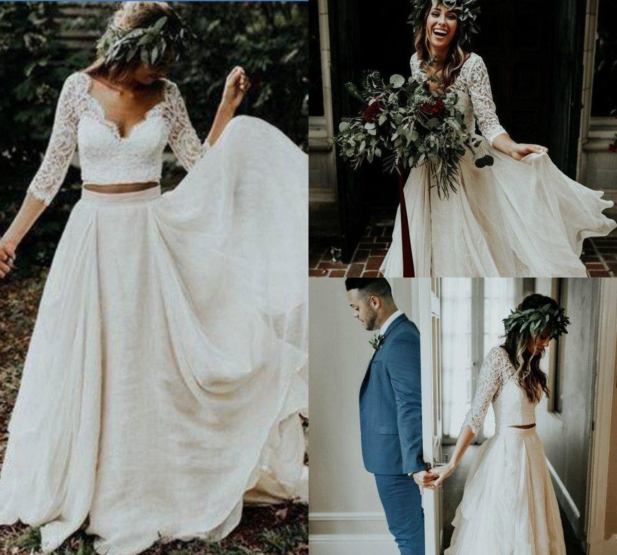 보헤미안 비치 2019 웨딩 드레스 레이스 Appliqued V 넥 브라 가운 매력적인 3/4 Sleeve Boho 시폰 웨딩 드레스 Robe De Mariée