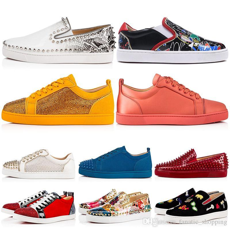 New Designer Marca Spikes Studded Flat Shoes Casual Low Cut Homens Mulheres Bottoms vermelhas Rebites Outdoor Sneakers 35-47
