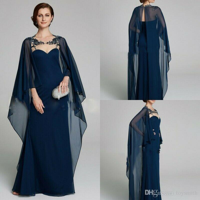 2019 New Navy Blue Chiffon Appliques Beading Jacket Mother of the Bride Dresses With Cape Lace Custom Plus Size