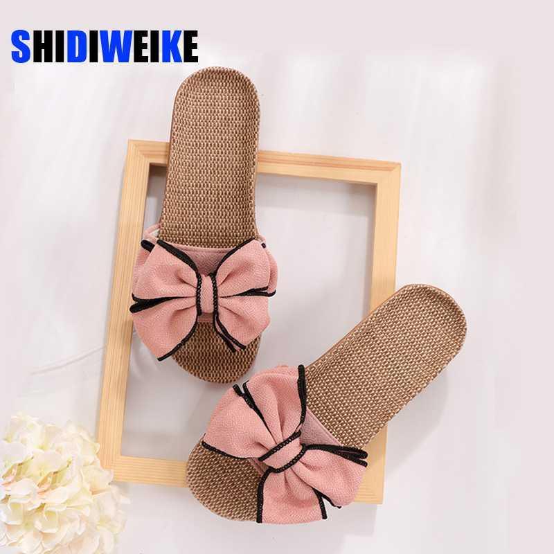 Kadınlar Keten Ev Terlik Yaz Bow-düğüm Yumuşak Zemin Kadın Kapalı slaytlar Flats Ev Ayakkabı Sevimli Keten Terlik AB637