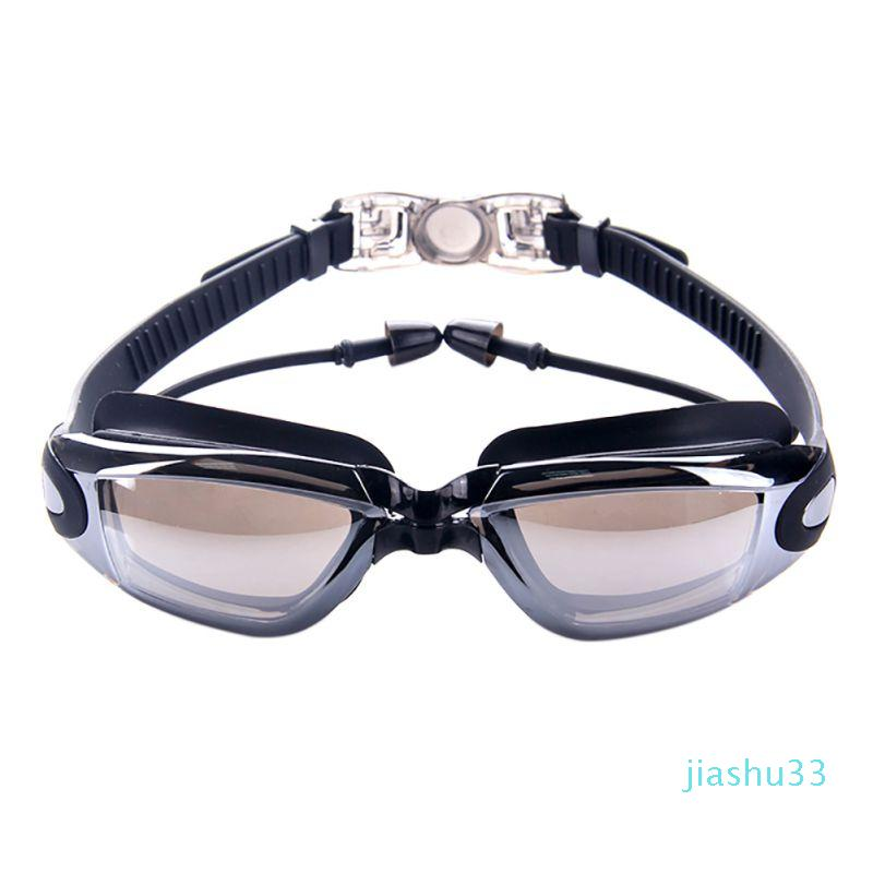 luxo- Waterproof Profissional Silicone natação óculos anti-fog UV Homens Mulheres Água Sports Swim Óculos de Natação Óculos Com Earplug