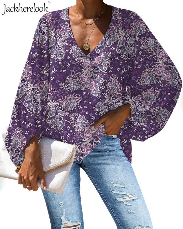 Jackherelook Women Blouse Purple Butterfly Animal Print Blouse Casual Loose Long Sleeve Shirt Tops Plus Size V-neck Clothing New