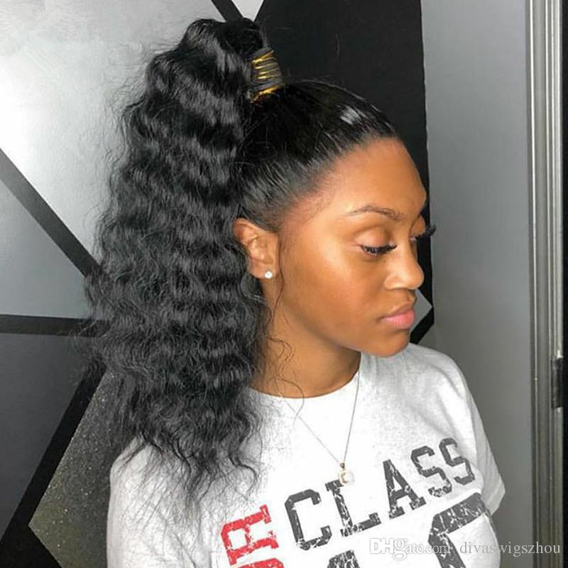 8a Afro Loose Curly Ponytail Human Hair Extensions Natural Black Remy Human Hair Clip In Ponytails 120gram Off Black Color Drawstring Pony Cute