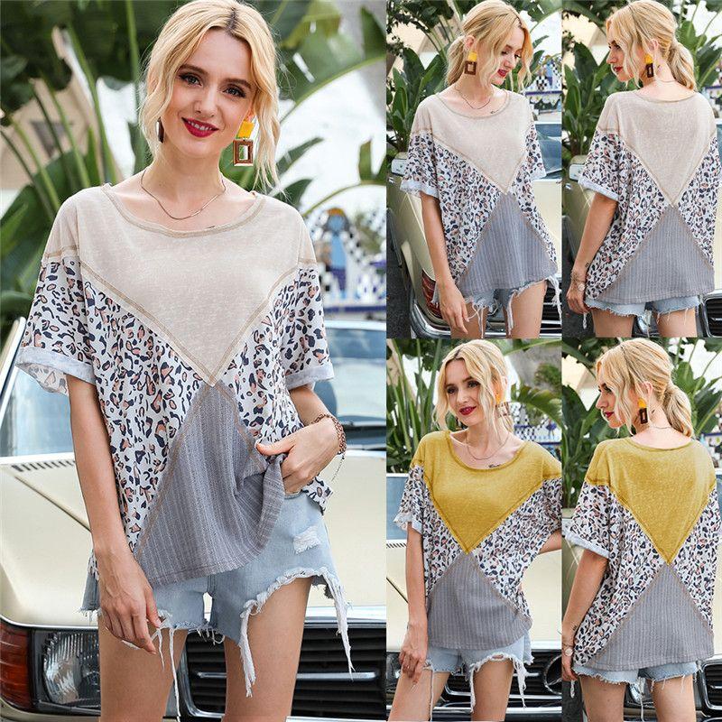 Kadın Renk Bloğu Tişört Casual Gevşek Leopar Patchwork Tişörtü 2020 Yeni Moda Crewneck Tees Bluz Shirt